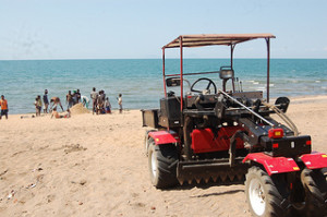 V-Tractor on beach of Lake Malawi