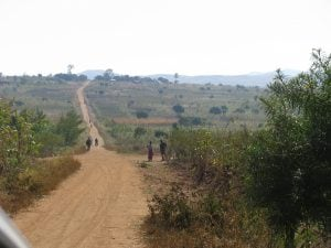 A long stretch of dirt road in Malawi