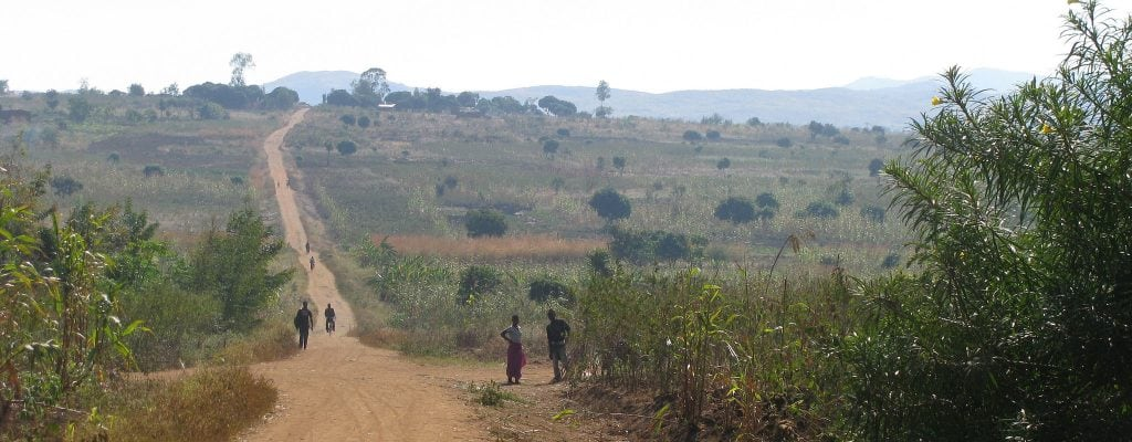 Long stretch of dirt road in Malawi