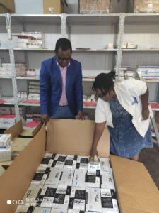 Wilson Tembo inspecting supplies