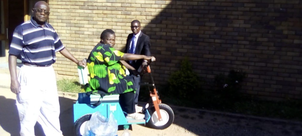Ireen in her mobility unit
