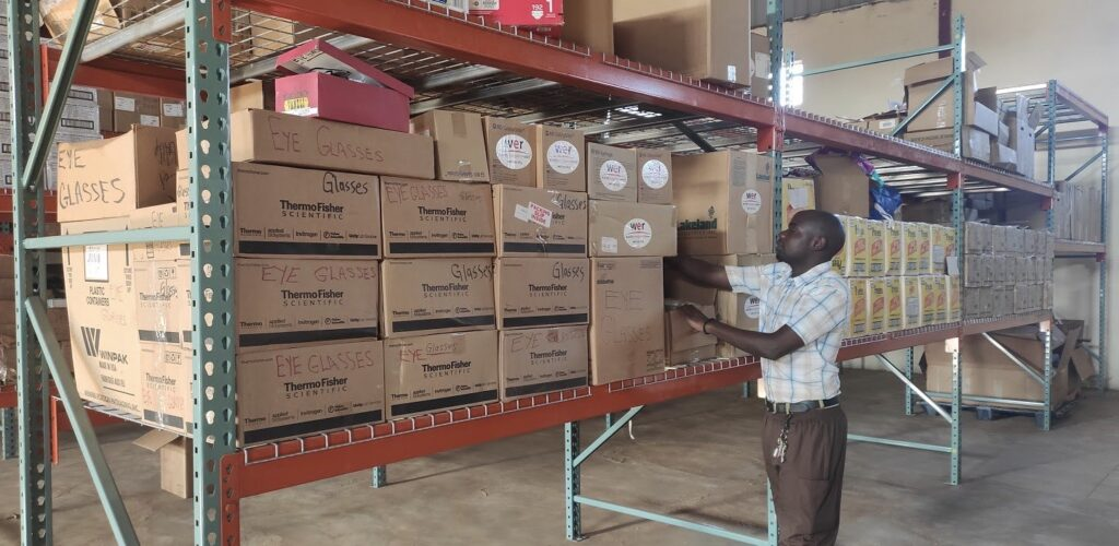 Grivin Kasalika in the warehouse