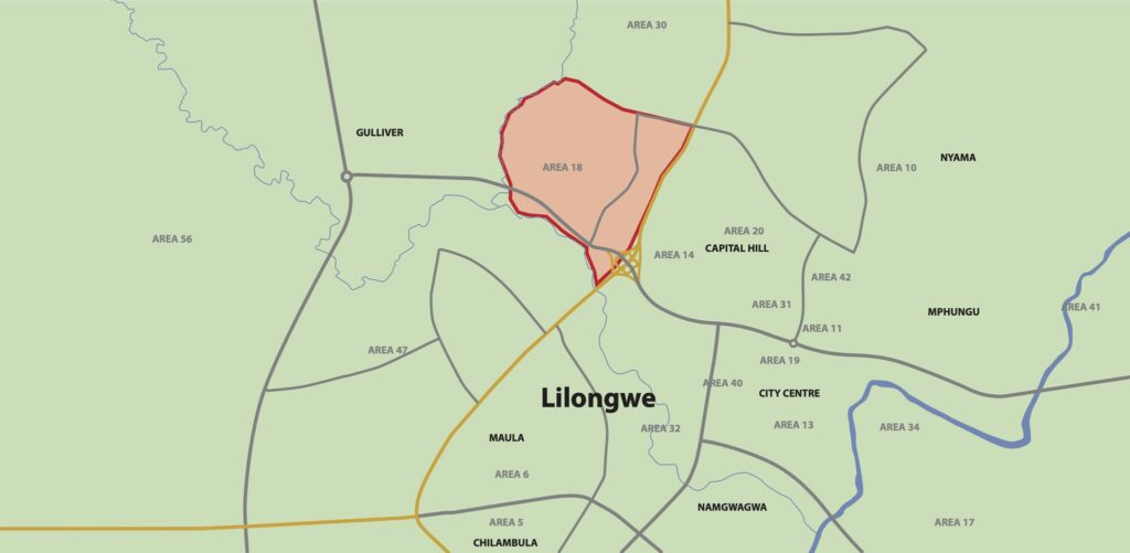 A map of Lilongwe and the surrounding region