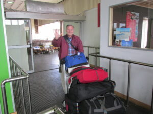 American guest enters the terminal